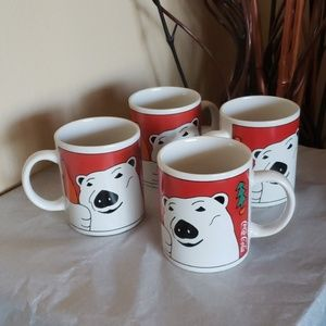 🎄Set of 4 Vintage Christmas Coca-Cola Coffee Cups